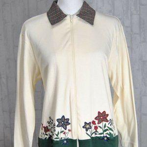 Bon Worth Womens Sweater S Petite Cream Floral EUC